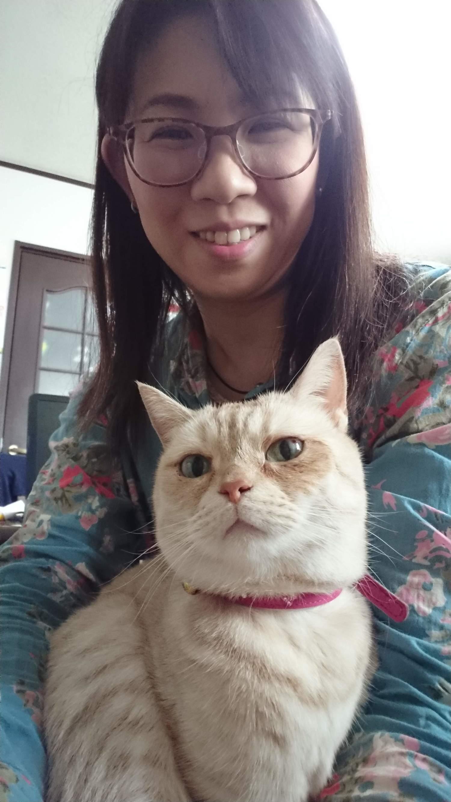 愛猫と一緒に